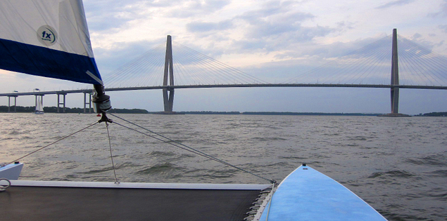 View of South Carolina's Charleston Harbor from a catamaran