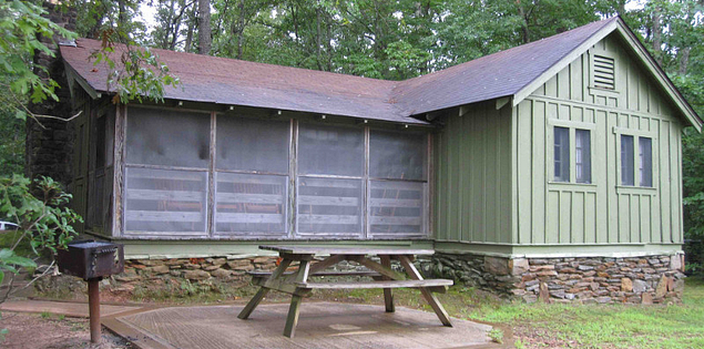 Oconee State Park historic cabins overlooking the lake