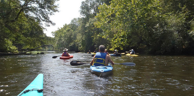 Kayakers on the Wateree River Blue Trail in South Carolina
