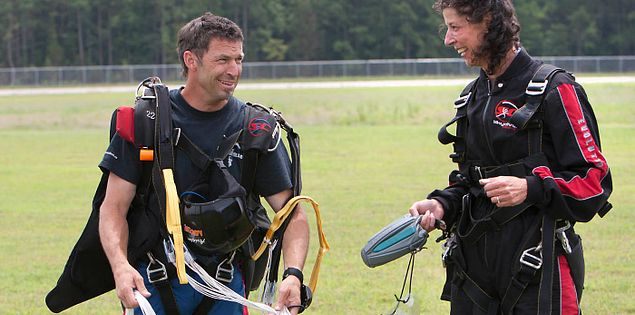 Skydive Carolina instructor Joey Freeman with skydiver in Chester, South Carolina