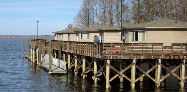 Cabins on Lake Marion at Santee State Park in South Carolina
