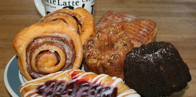 Delicious treats, freshly baked pastries, bagels and cakes from Benjamins