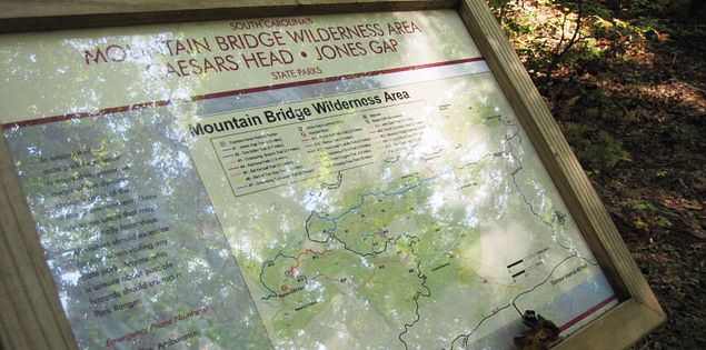 Trail map in the Mountain Bridge Wilderness Area