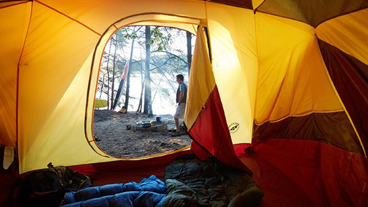 Early morning view of Lake Jocassee from inside a tent