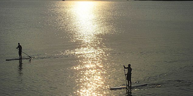 Paddle boarding on Lake Murray near sunset in South Carolina