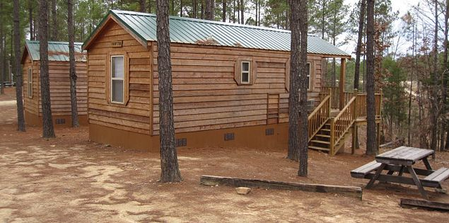 Camping in cabins at Carolina Adventure World in Winnsboro