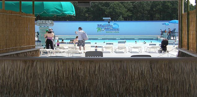 Lounge area at Myrtle Waves water park in Myrtle Beach, South Carolina
