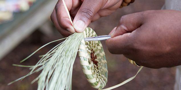 A handmade Gullah sweetgrass basket.
