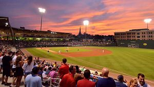 A full crowd at Fluor Field, home to the Greenville Drive minor league baseball team.