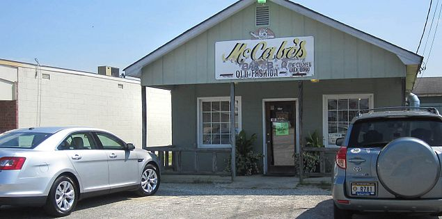 Exterior of McCabe's Bar-B-Que in Manning, South Carolina