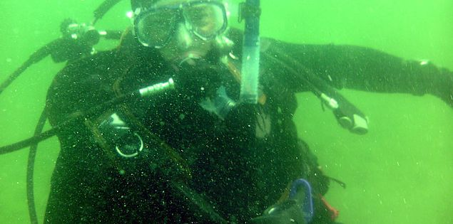 Columbia Scuba student in an open water dive in South Carolina's Lake Jocassee
