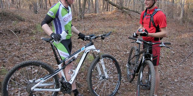 Cyclists in South Carolina's Harbison State Forest by the Broad River
