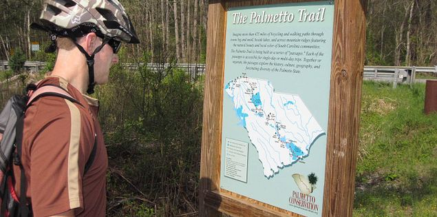 Sign of a map of the Palmetto Trail passages in South Carolina
