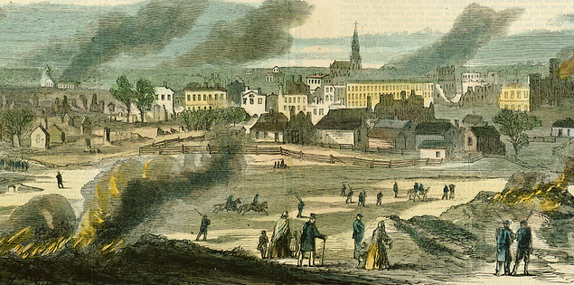 Columbia, South Carolina burning illustration from Harper's Weekly