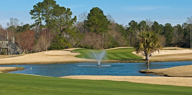 The final hole overlooking the water at Shadowmoss Plantation's golf course