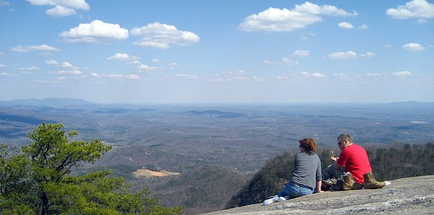 View from the top of Table Rock Mountain in South Carolina's Blue Ridge Escarpment