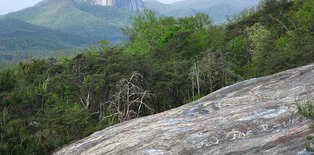 View of Table Rock Mountain from Bald Rock in Upstate South Carolina