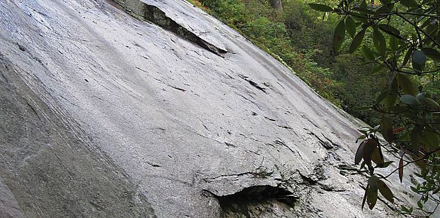 Big rock face on the Bill Kimball Trail in Upcountry South Carolina