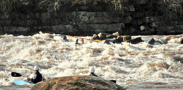 Kayakers competing in Columbia's Millrace Massacre and Iceman Championships