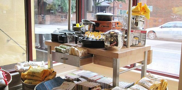 Charleston Cooks! shop display on Main St. in Greenville