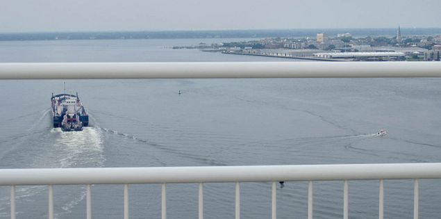 View from the top of the Ravenel Bridge in Charleston, South Carolina