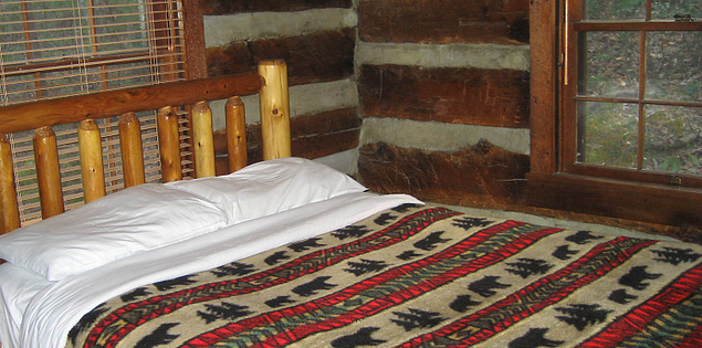 Bedroom of one of South Carolina's Table Rock State Park's historic cabins
