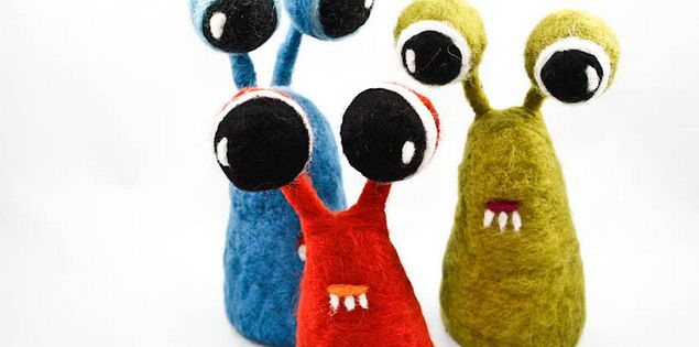 Felt Curiosities are felt creatures made by Mandell in Greenville