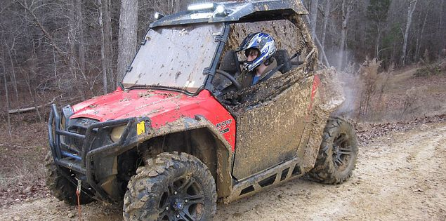 ATV covered in mud at Carolina Adventure World in the upper Piedmont