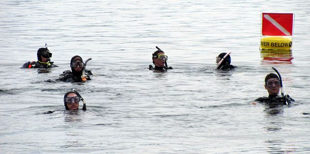 Columbia Scuba students in an Open Water Diver class in South Carolina's Lake Jocassee
