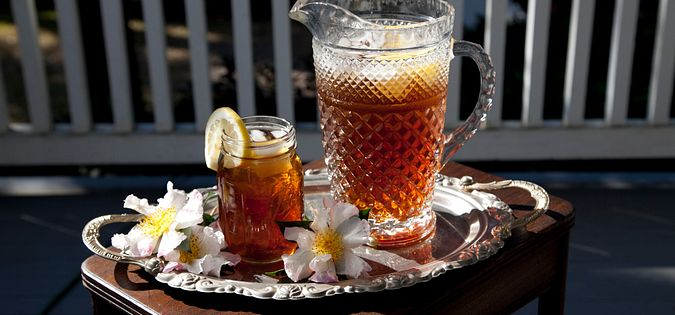 A glass of sweet tea on a South Carolina porch