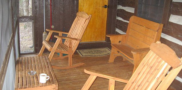 Porch of one of South Carolina's Table Rock State Park's historic cabins