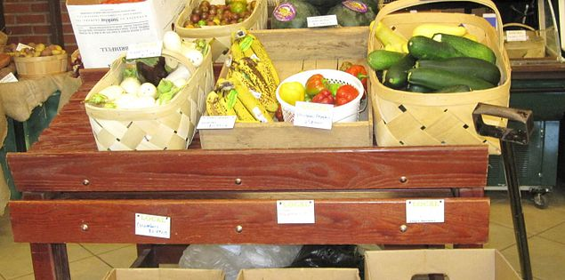Fresh produce for sale in the Swamp Rabbit Cafe and Grocery