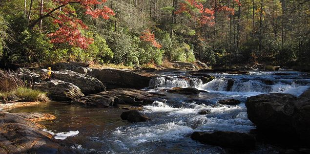 Chattooga River running along South Carolina's Chattooga Trail
