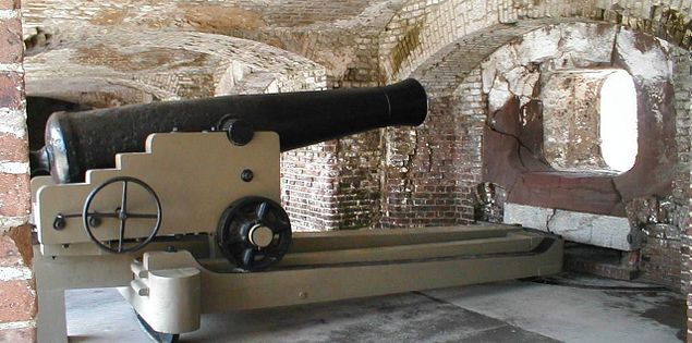 Cannons at South Carolina's Fort Sumter in Charleston Harbor