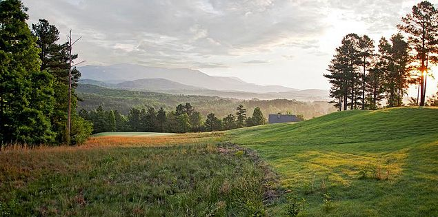 The 15th hole of Cherokee Valley has an astounding view of the Blue Ridge Mountains