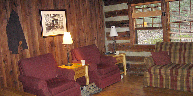 Interior of one of the historic cabins at South Carolina's Table Rock State Park