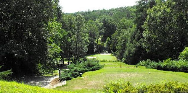 The Rock Golf Club & Resort features a downhill tee shot on the eighth hole