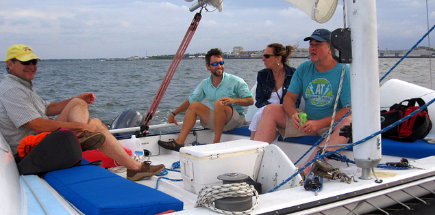 Catamaran sailing in Charleston Harbor
