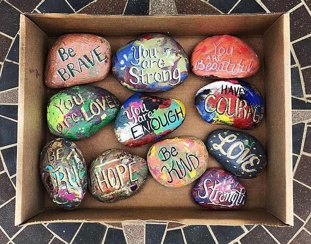 Designer spotlight Kindness matters painted rocks.JPG