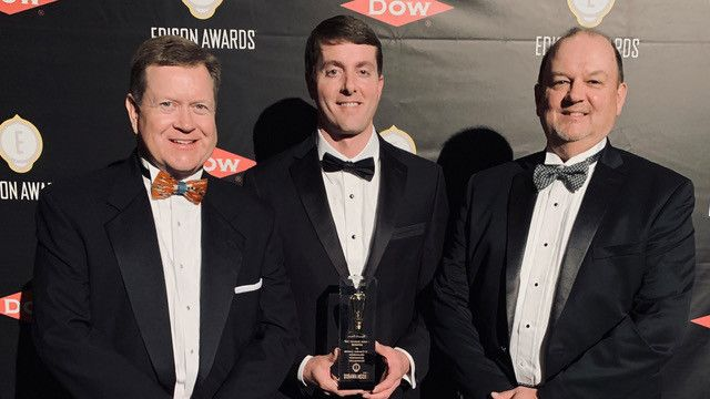 From left to right: Chris Yarbrough (director of carpet technology and performance), Jeff Coon, (technical manager) and Bryan Morton (technical director - residential division) accept LifeGuard Spill-proof backing's Silver Edison Award on behalf of Shaw Floors at the April 4 ceremony in New York.