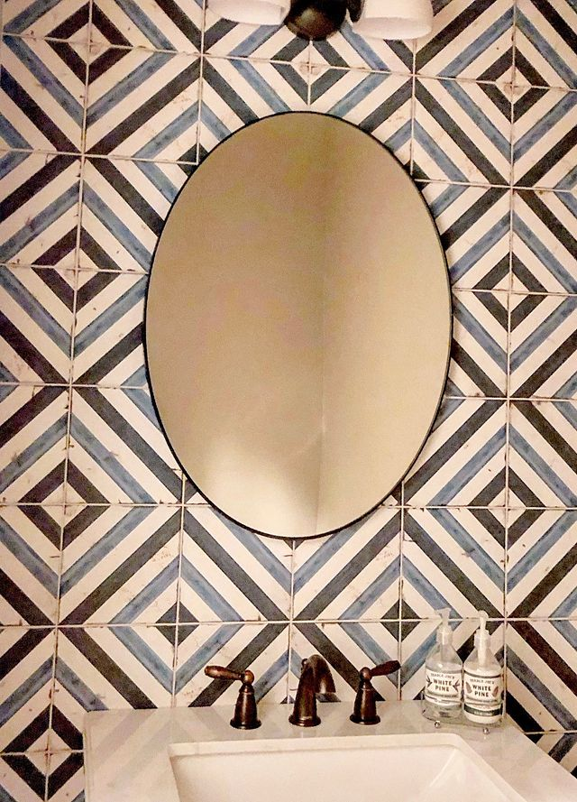 Designer Spotlight Pattern to the People Blue Daze Mirror.JPG