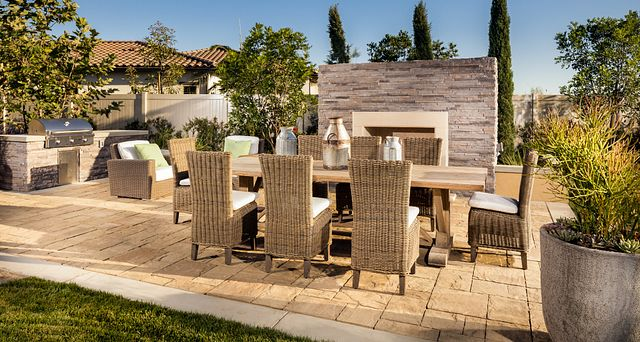 Plan 3 patio with fireplace, barbecue, and outdoor furniture