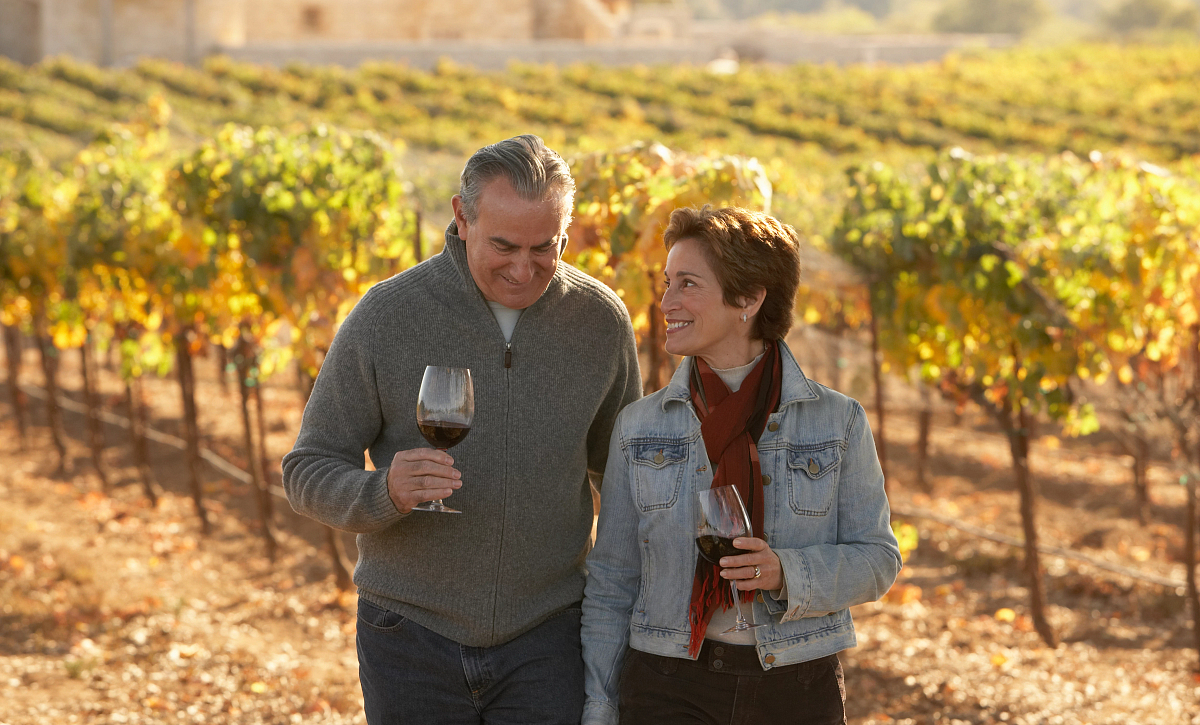 Couple Walking a Winery