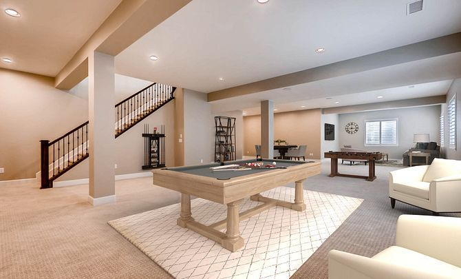 Whispering Pines Woodlands Coulter Pine Finished Basement