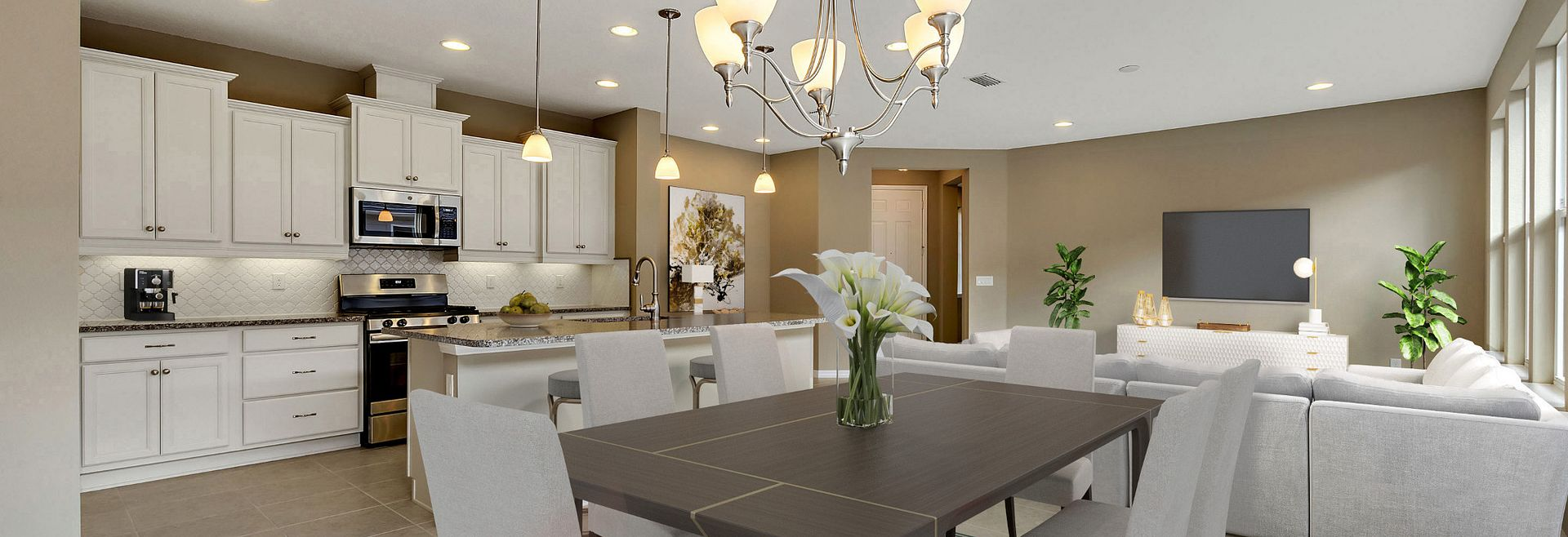 Trilogy Orlando Quick Move In Home Amalfi Plan Virutally Staged Great Room