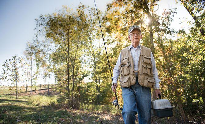 Man Fishing at Lake Frederick