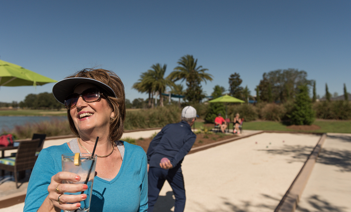 Trilogy at Ocala Preserve Bocce Courts with people playing on them
