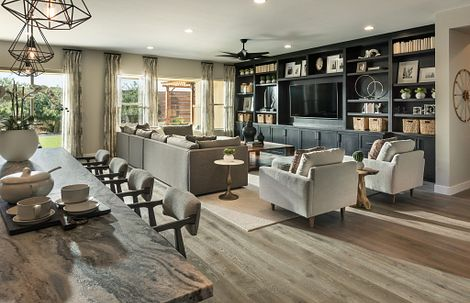 Great Room in the Flourish Plan at Evolve at Cantilena in Peoria, Arizona