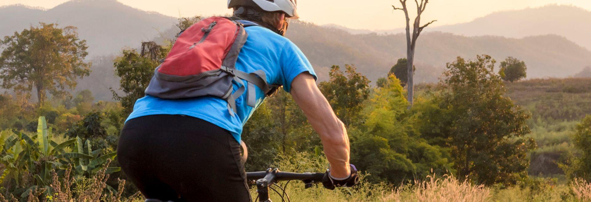 Man on bike trail