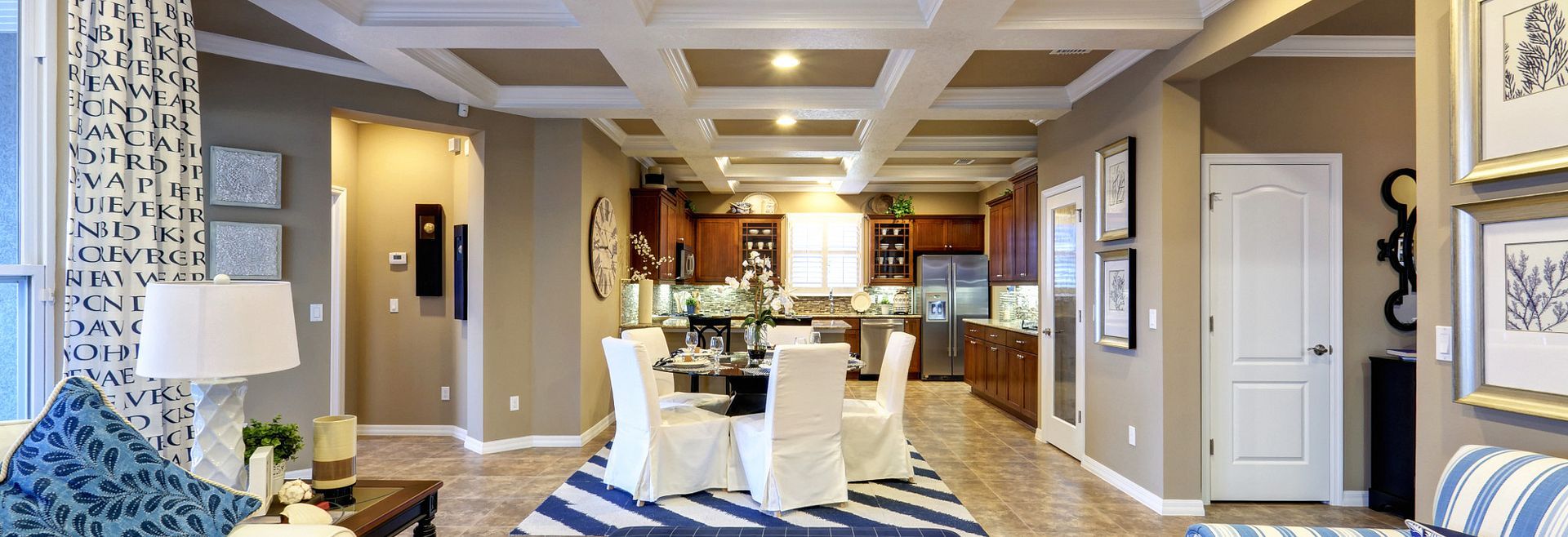 Heather Plan with Large Great Room and Coffered Ceiling